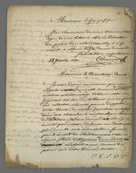 Lettre de Pierre Charnier adressée à Tuffet, professeur à l'École impériale de dessin du Palais du Commerce et des Arts, dans laquelle il lui demande de le soutenir dans sa demande auprès de Therriat, conservateur.