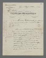 Lettre de Pierre Charnier adressée à Falconnet, prud'homme et conservateur du musée des tissus, au sujet de la préparation d'une collection d'échantillons de tissus destinée à la Chambre de Commerce.