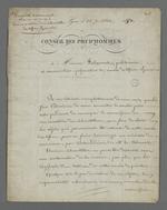 Lettre de Pierre Charnier adressée à Falconnet, prud'homme et conservateur-préparateur du musée des tissus, au sujet de la préparation d'une collection d'échantillons de tissus destinée à la Chambre de Commerce.