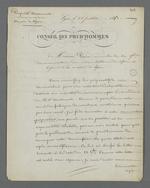 Lettre de Pierre Charnier adressée à Pain, membre de la Commission du Conservatoire des échantillons de tissus, adjoint à la mairie, au sujet de la préparation d'une collection d'échantillons de tissus destinée à la Chambre de Commerce.