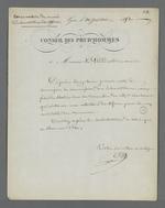 Lettre de Pierre Charnier adressée à Brisson, président du Conseil des Prud'hommes, dans laquelle il réitère sa demande d'une rencontre entre la Commission du Conservatoire des échantillons de tissus et le Conseil des Prud'hommes, au sujet de la préparation d'une collection d'échantillons de tissus destinée à la Chambre de Commerce.