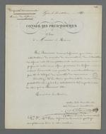 Lettre de Pierre Charnier adressée à Edouard Réveil, maire de Lyon, dans laquelle il proteste contre la non prise en compte de son veto par De Colmont contre la saisie d'échantillon de tissus en vue de constituer une collection destinée à la Chambre de Commerce.