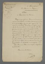 Seconde lettre de Pierre Charnier adressée à Edouard Réveil, maire de Lyon, au sujet de la saisie d'échantillon de tissus en vue de constituer une collection destinée à la Chambre de Commerce.