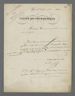 Lettre de Pierre Charnier adressée à Esant, membre du Conseil municipal de Lyon, dans laquelle il le prie de relancer le maire au sujet d'un règlement de la Commission du Conservatoire des échantillons de tissus; ses lettres successives étant restées sans réponse.