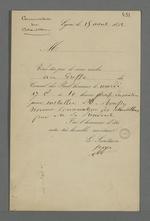 Convocation de Pierre Charnier au greffe du Conseil des Prud'hommes pour l'installation de Roussy, nommé conservateur des échantillons par le président.