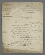 Lettre de Pierre Charnier adressée au prince Louis Napoléon, président de la République, dans laquelle il effectue une demande de subvention pour Jean Villard, tisseur mécanicien, inventeur d'un procédé de simplification de la mécanique des métiers Jacquard.