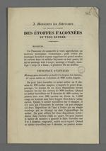 Lettre de Bouverat, tisseur mécanicien, adressée aux membres de la Chambre de Commerce dans laquelle il leur transmet un prospectus de présentation du mécanisme de tissage qu'il a inventé, accompagnée d'une lettre manuscrite les invitant personnellement à venir voir son invention.