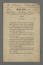 Prospectus publicitaire de l'invention faite par le chef d'atelier Roussy, concernant un nouveau système de montage des métiers.