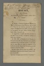 Prospectus publicitaire pour l'invention d'un nouveau système de montage des métiers, par Roussy, chef d'atelier.