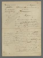 Lettre de Pierre Charnier adressée à Alphand, président et membre de la Chambre de Commerce, dans laquelle il décrit une machine accessoire à monter sur un métier Jacquard.