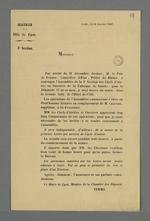 Convocation des chefs d'ateliers et ouvriers de la Fabrique de Soierie par le maire de Lyon, Jean-François Terme, afin d'élire un prud'homme titulaire en remplacement de Pierre Charnier suppléant sortant.