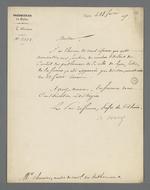 Lettre d'Hippolyte Jayr, préfet du Rhône, adressée à Pierre Charnier, dans laquelle il l'informe de sa nomination comme membre titulaire du Conseil des Prud'hommes, section de la Fabrique de Soierie.