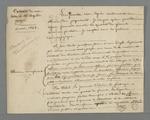 Extrait d'une lettre de Pierre Charnier adressée à maître Capelin, dans laquelle il lui soumet une affaire dans laquelle Pierre Charnier se trouve en conflit avec deux de ses apprentis qui logent à son domicile.