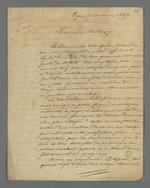 Lettre de Pierre Charnier adressée à Buttner, marchand-fabricant qui tente d'imposer au tisseur de déduire du prix de la pièce finie, la perte en déchets de soie.