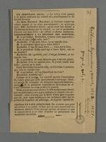 """Article relatant une audience du Conseil des Prudh'ommes, paru dans l'exemplaire numéro 1 de mars 1843 du journal <a href=""""http://sbibbh.si.bm-lyon.fr/cgi-bin/bestn?id=&amp;act=8&amp;form=F&amp;auto=0&amp;nov=1&amp;v0=0&amp;t0=seq(0000483255)&amp;i0=0&amp;s0=5&amp;v1=0&amp;v2=0&amp;v3=0&amp;sy=&amp;ey=&amp;scr=1&amp;x=0&amp;y=0""""><cite>La Tribune lyonnaise</cite></a>"""