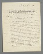 Présentation du projet de création de l'emblème de la juridiction prud'homale présentée à Arquillière, président du Conseil des Prud'hommes du Rhône, par Pierre Charier.