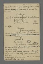 Notes de Fernand Rude au sujet d'un document rédigé par Pierre Charnier contenant la copie du catalogue des chefs d'ateliers composant le premier Mutuellisme.