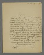 Lettre de Pierre Charnier adressée à Louis-Sébastien Rosaz, dans laquelle il lui demande de faire preuve de prudence si des personnes venaient à lui demander la lettre attestant du titre de Pierre Charnier comme fondateur et directeur du premier mutuellisme.