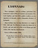 """Appel à protester et à se réunir contre """"le placard séditieux"""" affiché, signé du syndic Lacombe, de Charpentier et de Lachapelle."""