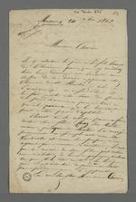 Lettre adressée à Pierre Charnier par Depassio, fabricant et chansonnier, dans laquelle il lui demande de conseiller Chavot au sujet de son fils, apprenti, renvoyé par son chef d'atelier.