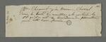 Note dans laquelle De Clermont prie Charrel de remettre les cinq francs alloués à la porteuse de la missive.