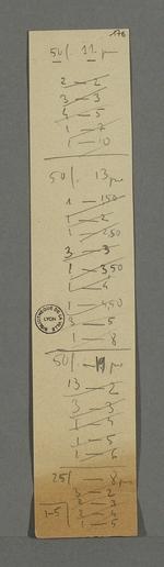Suite d'opérations mathématiques sur deux bandes de papiers découpées.