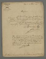 Lettre du préfet Gasparin adressée à Pierre Charnier, dans laquelle il l'informe que l'installation du Conseil des Prud'hommes réorganisé aura lieu avant l'arrivée de Louis-Philippe à Lyon; suivie d'une note de Pierre Charnier au sujet du droit d'assistance.