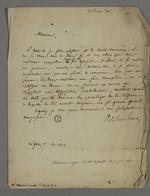 Lettre d'Odilon Barrot adressée à Pierre Charnier dans laquelle il répond à certaines question de droit concernant la libre défense.