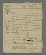 Copie de la lettre d'Odilon Barrot concernant la libre-défense, suivie de notes de Pierre Charnier sur ce sujet.