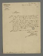 Lettre du préfet Gasparin adressée à Pierre Charnier, dans laquelle il l'informe de sa bonne réception de la copie de la lettre d'Odilon Barrot concernant la libre-défense.