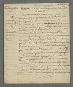 Notes de Pierre Charnier concernant le témoignage d'Armand Audiganne sur la présentation du rapport de Pierre Charnier et Bernard sur les événements de novembre auprès du Conseil des ministres, en janvier 1832.