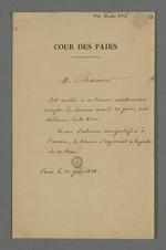 Convocation de Pierre Charnier pour qu'il assiste aux audiences de la Cour des Pairs.