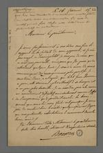 Lettre de Bouvery adressée à Pierre Charnier dans laquelle il lui rend compte du comportement de son apprenti, amélioré dit-il par la leçon morale que lui a faite Pierre Charnier.