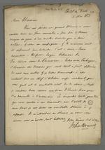 Première lettre du docteur Bowring, chargé d'une enquête commerciale sur l'industrie française de la soie par le gouvernement anglais, qui s'adresse à Pierre Charnier pour obtenir des informations sur les conditions de travail des ouvriers en soie de Lyon.