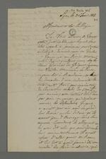 Lettre de Falconnet adressée à Pierre Charnier, dans laquelle il lui demande d'arbitrer une affaire qui oppose Vermet à ses employeurs Dumas et Guiguet.