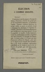 Propagande électorale de Pérenon, candidat à la fonction de député à l'assemblée législative.
