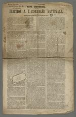 Exemplaire d'une publication d'un texte de propagande de Théodore Pitrat, candidat pour l'élection à l'assemblée nationale.