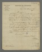 Lettre de Bredin, directeur de l'école vétérinaire de Lyon, adressée à Pierre Charnier dans laquelle il l'invite à participer à la reprise des travaux de santé publique qu'il avait effectué durant l'épidémie de choléra de 1832.