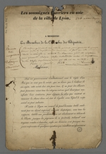 Brouillon de la pétition pour la réforme du Conseil des Prud'hommes, adressée par les maîtres ouvriers aux membres de la Chambre des députés.