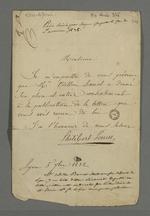 Lettre de Perrin adressée à Pierre Charnier dans laquelle il lui annonce qu'il a obtenu l'autorisation d'Odilon Barrot de publier sa lettre sur le droit de se faire assister.
