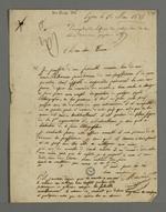 Lettre de recommandation de Mercier adressée à son cousin Louis Coron, éditeur de lithographie à Paris, dans laquelle il lui demande de bien vouloir confier à Pierre Charnier des acquisitions à l'occasion de son voyage pour se présenter devant la Cour des Pairs, au sujet de l'affaire des accusés d'avril 1834.