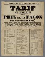 Affiche établissant le tarif minimum des prix de la façon des étoffes de soie, placardée le