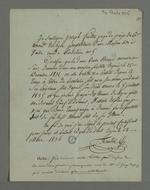 Certificat d'hébergement rédigé par Joseph Feuillet, juge de Paix, destiné à Pierre Charnier, en vue de sa présentation à la Cour des Pairs, le 22 juin 1835.