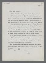 Lettre adressée à Fernand Rude dans laquelle est annoncé l'envoi du fonds concernant les premiers mutuellistes lyonnais et les moyens d'obtentions des papiers Charnier.