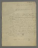 Lettre de Pierre Charnier adressée à Martin Bernard, maire de Vaise, dans laquelle il lui explique comment il a écrit au préfet Arago, commissaire représentant du gouvernement provisoire, au sujet des victimes du massacre de Vaise, qui eut lieu le12 avril 1834, lors de la répression de l'insurrection canuse d'avril 1834.