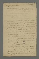 Réponse de Levasseur, libraire, adressée à Pierre Charnier, à propos de leur entretien concernant son projet de publication d'un code industriel, lors de son séjour à Paris à l'occasion de sa convocation à la Cour des Pairs.
