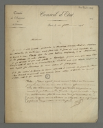 Lettre de Flaugergues adressée à Pierre Charnier dans laquelle il l'invite à se présenter au ministère de l'Intérieur, pour y rencontrer Vincent, chef de section.