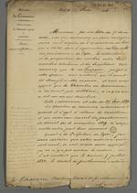 Réponse de Tanneguy Duchâtel, ministre du Commerce adressée à Pierre Charnier au sujet de l'origine de l'ordonnance royale concernant la réorganisation du Conseil des Prud'hommes de Lyon, ordonnance datée du 21 juin 1833.