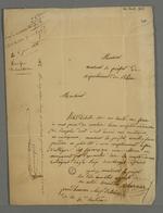 Lettre de démission de Pierre Charnier, adressée au préfet Rivet.