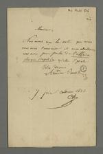 Lettre adressée à Pierre Charnier au sujet de sa démission, « plus que singulière », lettre rédigée par Amédée Roussillon, rédacteur du